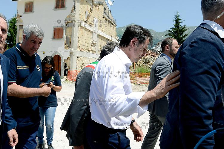 Amatrice, Rieti, 11 Giugno 2018<br /> Il Presidente del Consiglio Giuseppe Conte in visita sui luoghi del terremoto del 24 Agosto 2016