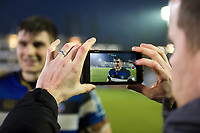 Josh Bayliss of Bath Rugby is interviewed for the club after the match. Anglo-Welsh Cup match, between Bath Rugby and Newcastle Falcons on January 27, 2018 at the Recreation Ground in Bath, England. Photo by: Patrick Khachfe / Onside Images