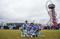 The Womens Blue Team including Samantha Harvey (left)(Singer / Songwriter), George Harrison (TOWIE) (2nd right) (TOWIE), Paisley Billings (back row 3rd right) (Tattoo Fixers), Nancy May Turner (front row right) (Ex On the Beach) , Fran Parman (left) (TOWIE), Naomi  Hedman (back row 2nd left) (Ex On the Beach), Lady Nadia Essex (back row 3rd left), Lauryn Goodman (FRONT ROW centre), Megan Rees (front row left) (Ex on the Beach), during the SOCCER SIX Celebrity Football Event at the Queen Elizabeth Olympic Park, London, England on 26 March 2016. Photo by Andy Rowland.