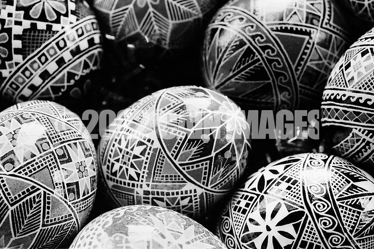 A batch of finished Ukrainian Easter eggs created by Sister Josaphat Slobodian are shown Tuesday, May 01, 1990 at Sisters of Saint Basil The Great motherhouse in Glenside, Pennsylvania. (Photo by William Thomas Cain/Cain Images)