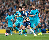 Brighton & Hove Albion's Adam Webster (right) battles for possession with Tottenham Hotspur's Eric Dier (left) <br /> <br /> Photographer David Horton/CameraSport<br /> <br /> The Premier League - Brighton and Hove Albion v Tottenham Hotspur - Saturday 5th October 2019 - The Amex Stadium - Brighton<br /> <br /> World Copyright © 2019 CameraSport. All rights reserved. 43 Linden Ave. Countesthorpe. Leicester. England. LE8 5PG - Tel: +44 (0) 116 277 4147 - admin@camerasport.com - www.camerasport.com