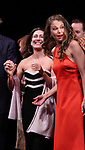 Jeanine Tesori and Sutton Foster and cast during the curtain Call bows for the Actors Fund's 15th Anniversary Reunion Concert of 'Thoroughly Modern Millie' on February 18, 2018 at the Minskoff Theatre in New York City.