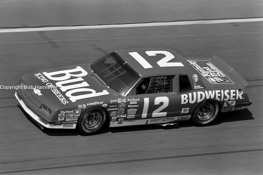 DAYTONA BEACH, FL - FEBRUARY 16: Neil Bonnett drives the Junior Johnson Chevrolet during the Daytona 500 NASCAR Winston Cup race at the Daytona International Speedway in Daytona Beach, Florida, on February 16, 1986.