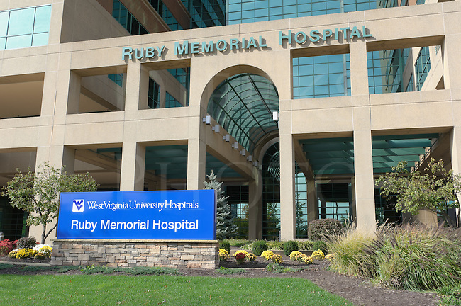 West Virginia University campus, Ruby Memorial Hospital, a medical research facility at WVU, Morgantown, WV, USA.
