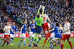 16.03.2019, VELTINS Arena, Gelsenkirchen, Deutschland, GER, 1. FBL, FC Schalke 04 vs. RB Leipzig<br /> <br /> DFL REGULATIONS PROHIBIT ANY USE OF PHOTOGRAPHS AS IMAGE SEQUENCES AND/OR QUASI-VIDEO.<br /> <br /> im Bild Zweikampf zwischen Alexander Nübel / Nuebel (#35 Schalke) und Yussuf Yurary Poulsen (#9 Leipzig)<br /> <br /> Foto © nordphoto / Kurth