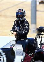 Jul. 27, 2013; Sonoma, CA, USA: NHRA top fuel dragster driver Shawn Langdon during qualifying for the Sonoma Nationals at Sonoma Raceway. Mandatory Credit: Mark J. Rebilas-