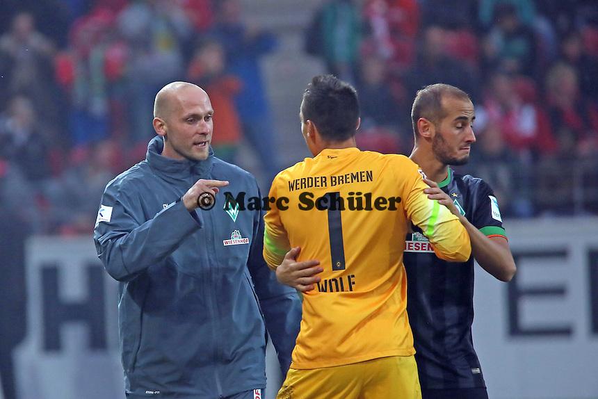 Torjubel Alejandro Galvez und Raphael Wolf (Werder) beim 1:2 - 1. FSV Mainz 05 vs. SV Werder Bremenl, Coface Arena