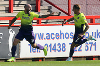 Nicky Law of Exeter City is congratulated after scoring the first goal during Stevenage vs Exeter City, Sky Bet EFL League 2 Football at the Lamex Stadium on 10th August 2019