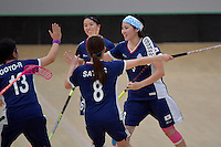 Japan&rsquo;s Yui Goto in action during the World Floorball Championships 2017 Qualification for Asia Oceania Region Final - Australia v Japan at ASB Sports Centre , Wellington, New Zealand on Sunday 5 February 2017.<br /> Photo by Masanori Udagawa<br /> www.photowellington.photoshelter.com.