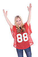 Series with a woman in a football jersey, in various poses with a variety of props.  Isolated on a white background.