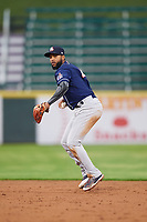 New Hampshire Fisher Cats shortstop Richard Urena (4) throws to first base during a game against the Altoona Curve on May 11, 2017 at Peoples Natural Gas Field in Altoona, Pennsylvania.  Altoona defeated New Hampshire 4-3.  (Mike Janes/Four Seam Images)