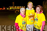 Marie Fitzgerald, Erin O'Dowd and Emma Fitzgerald, all from Castleisland, taking part in the Darkness into Light walk in Tralee on Saturday morning last