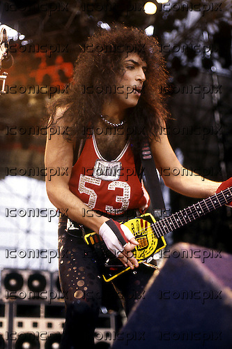 Kiss - guitarist Paul Stanley performing live at the Monsters of Rock at Castle Donington UK - 29 Aug 1988.  Photo credit: George Chin/IconicPix