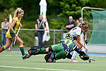 GER - Mannheim, Germany, May 24: During the U16 Girls match between Australia (green) and Germany (white) during the international witsun tournament on May 24, 2015 at Mannheimer HC in Mannheim, Germany. Final score 0-6 (0-3). (Photo by Dirk Markgraf / www.265-images.com) *** Local caption *** Alice Arnott #6 of Australia, Hannah Astbury #17 of Australia, Inma Sophia Hofmeister #11 of Germany