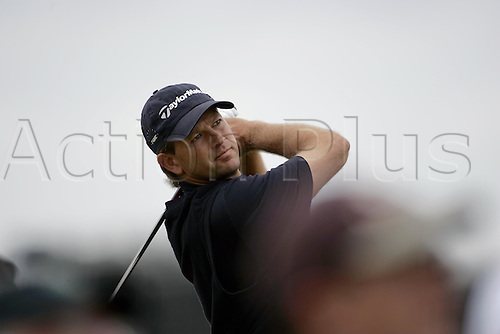 14 July 2005: South African golfer Retief Goosen (RSA) looks into the distance after playing from the 14th Tee during the first round. Goosen shot a 4 under par 68 in The Open Championship, The Old Course at St Andrews, Scotland. Photo: Glyn Kirk/Actionplus....050714 golf major british