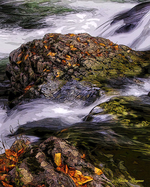 Stream image converted to faux painting. Great Smoky Mountains national Park. Smoky Mountain photos by Gordon and Jan Brugman.