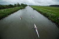 25 MAY 2014 - BRIGG, GBR - Competitors paddle along the River Ancholme during the World Quadrathlon Federation 2014 Middle Distance World Championships at the Brigg Bomber in Brigg, Lincolnshire, Great Britain (PHOTO COPYRIGHT © 2014 NIGEL FARROW, ALL RIGHTS RESERVED)