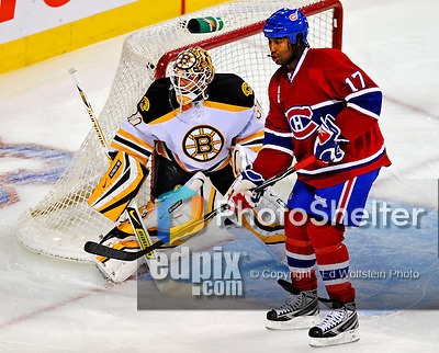 22 November 2008: Boston Bruins' goaltender goaltender Tim Thomas in action during the first period against the Montreal Canadiens at the Bell Centre in Montreal, Quebec, Canada.  After a 2-2 regulation tie and a non-scoring overtime period, the Boston Bruins scored the lone goal in a shootout thus defeating the Canadiens 3-2. The Canadiens, celebrating their 100th season, honored former Montreal goaltender Patrick Roy, and retired his jersey (Number 33) during pre-game ceremonies. ***** Editorial Use Only *****..Mandatory Photo Credit: Ed Wolfstein Photo *** Editorial Sales through Icon Sports Media *** www.iconsportsmedia.com