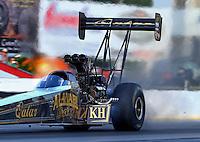 May 16, 2014; Commerce, GA, USA; NHRA top fuel dragster driver Khalid Albalooshi during qualifying for the Southern Nationals at Atlanta Dragway. Mandatory Credit: Mark J. Rebilas-USA TODAY Sports