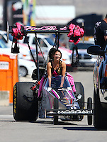 Apr 11, 2015; Las Vegas, NV, USA; NHRA top alcohol dragster driver Ashley Sanford during qualifying for the Summitracing.com Nationals at The Strip at Las Vegas Motor Speedway. Mandatory Credit: Mark J. Rebilas-