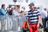 Daniel Berger (USA) departs the first tee during round 4 Singles of the 2017 President's Cup, Liberty National Golf Club, Jersey City, New Jersey, USA. 10/1/2017. <br /> Picture: Golffile | Ken Murray<br /> <br /> All photo usage must carry mandatory copyright credit (&copy; Golffile | Ken Murray)