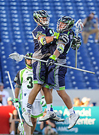 Annapolis, MD - July 7, 2018: Chesapeake Bayhawks players celebrate after a goal during the game between New York Lizards and Chesapeake Bayhawks at Navy-Marine Corps Memorial Stadium in Annapolis, MD.   (Photo by Elliott Brown/Media Images International)
