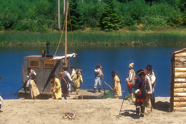 Model Released, Indians investigate Flatboat, Lewis and Clark Historic Pagent, Seaside, Oregon, USA