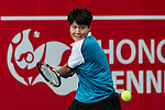 Luksika Kumkhum of Thailand competes against Jennifer Brady of the United States during the singles first round match at the WTA Prudential Hong Kong Tennis Open 2018 at the Victoria Park Tennis Stadium on 08 October 2018 in Hong Kong, Hong Kong. Photo by Yu Chun Christopher Wong / Power Sport Images
