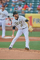 Adam Hofacket (20) of the Salt Lake Bees delivers a pitch to the plate against the New Orleans Baby Cakes at Smith's Ballpark on August 4, 2019 in Salt Lake City, Utah. The Baby Cakes defeated the Bees 8-2. (Stephen Smith/Four Seam Images)