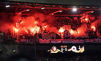 28th November 2019, Rotterdam, Netherlands; Europa League football, Feyenoord versus Glasgow Rangers;  Fireworks from the stands from Rangers fans during the game - Editorial Use