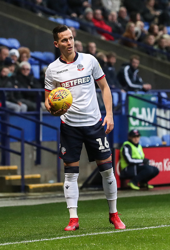 Bolton Wanderers' Pawel Olkowski <br /> <br /> Photographer Andrew Kearns/CameraSport<br /> <br /> The EFL Sky Bet Championship - Bolton Wanderers v Wigan Athletic - Saturday 1st December 2018 - University of Bolton Stadium - Bolton<br /> <br /> World Copyright © 2018 CameraSport. All rights reserved. 43 Linden Ave. Countesthorpe. Leicester. England. LE8 5PG - Tel: +44 (0) 116 277 4147 - admin@camerasport.com - www.camerasport.com