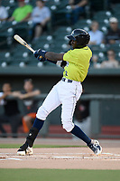 Shortstop Ronny Mauricio (2) of the Columbia Fireflies bats in a game against the Delmarva Shorebirds on Thursday, May 2, 2019, at Segra Park in Columbia, South Carolina. Delmarva won, 1-0. (Tom Priddy/Four Seam Images)