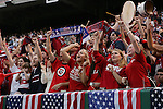 26 May 2006: U.S. fans celebrate after their team had taken a 1-0 in the first half. The United States Men's National Team defeated their counterparts from Venezuela 2-0 at Cleveland Browns Stadium in Cleveland, Ohio in a men's international friendly soccer game.