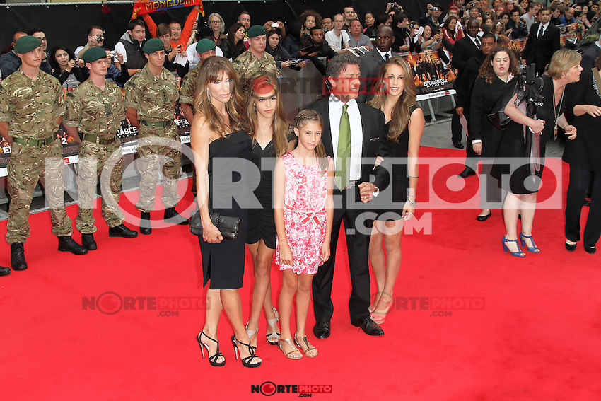 LONDON - AUGUST 13: Sylvester Stallone; Jennifer Flavin attended the UK Film Premiere of 'The Expendables 2', Leicester Square, London, UK. August 13, 2012. (Photo by Richard Goldschmidt) /NortePhoto.com<br />