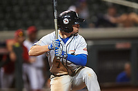 Glendale Desert Dogs Omar Estevez (7), of the Los Angeles Dodgers organization, at bat during an Arizona Fall League game against the Scottsdale Scorpions on September 20, 2019 at Salt River Fields at Talking Stick in Scottsdale, Arizona. Scottsdale defeated Glendale 3-2. (Zachary Lucy/Four Seam Images)