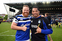 Ross Batty and Anthony Perenise of Bath Rugby pose for a photo after the match. Gallagher Premiership match, between Leicester Tigers and Bath Rugby on May 18, 2019 at Welford Road in Leicester, England. Photo by: Patrick Khachfe / Onside Images