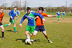 In Action Tralee's Eoin Sugrue and Annascaul's Sam Moriarty in the  Dominos Pizza Reserve Cup 1st Round Annascaul Fc  v  Tralee Athletic at Mounthawk Park on Sunday
