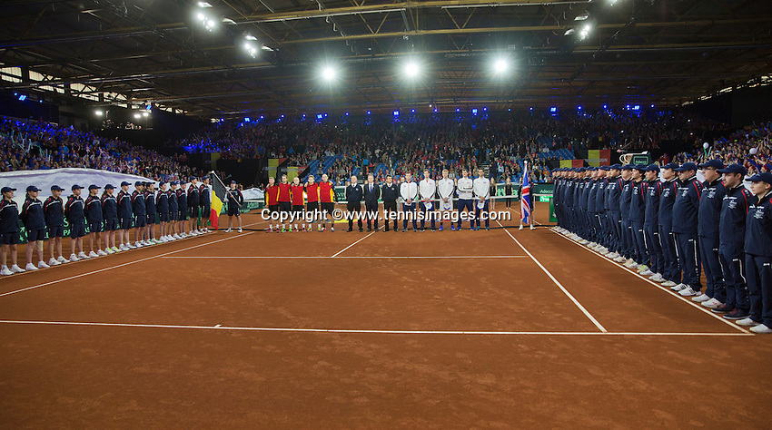 Gent, Belgium, November 27, 2015, Davis Cup Final, Belgium-Great Britain, Spectacular opening ceremony, flowering the curtains around the court<br /> Photo: Tennisimages/Henk Koster