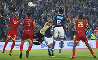 BOGOTÁ - COLOMBIA, 1-09-2018:Cesar Carrillo (Der.) jugador de Millonarios disputa el balón conLucero Alvarez  (Izq.) jugador del  Rionegro durante partido por la fecha 7 de la Liga Águila II 2018 jugado en el estadio Nemesio Camacho El Campín de la ciudad de Bogotá. /Cesar Carrillo (R) player of Millonarios  fights for the ball with Lucero Alvarez (L) player of Rionegro during the match for the date 7 of the Liga Aguila II 2018 played at the Nemesio Camacho El Campin Stadium in Bogota city. Photo: VizzorImage / Felipe Caicedo / Staff.