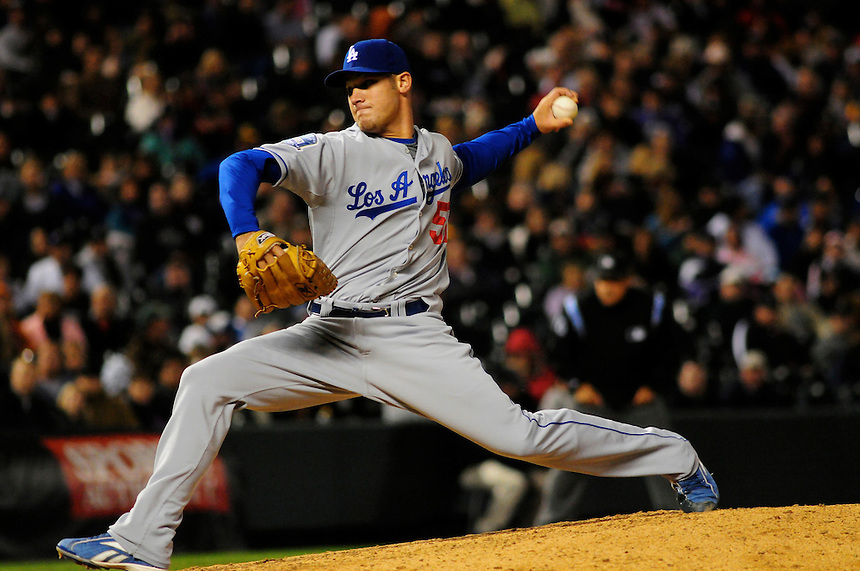 12 September 2008: Los Angeles Dodgers pitcher Scott Elbert delivers a pitch against the Colorado Rockies. The Dodgers defeated the Rockies 7-2 at Coors Field in Denver, Colorado. FOR EDITORIAL USE ONLY