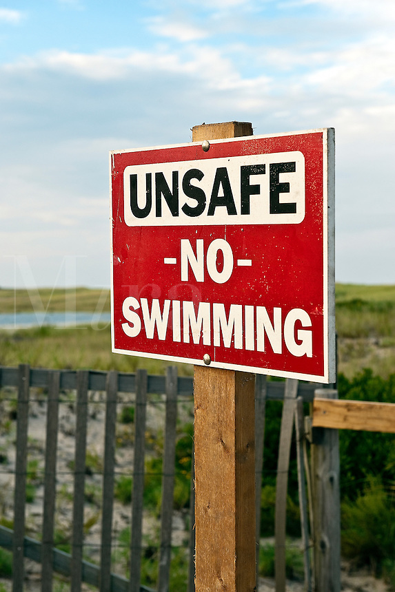 Warning sign of unsafe beach, Nauset Beach, Orleans, Cape Cod, MA, USA
