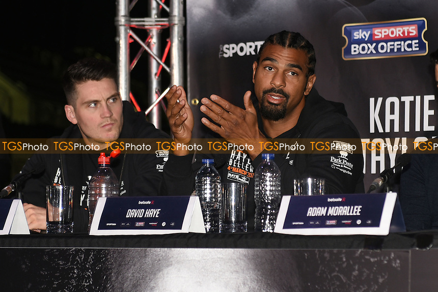 David Haye speaks during a Matchroom Boxing Press Conference at The O2 on 2nd March 2017