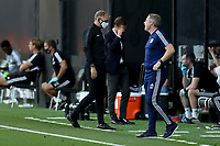 30th July 2020; Craven Cottage, London, England; English Championship Football Playoff Semi Final Second Leg, Fulham versus Cardiff City; Cardiff City Manager Neil Harris gives out instructions as Fulham Manager Scott Parker holds his head