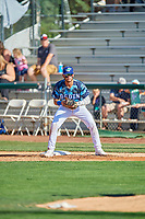 Marco Hernandez (13) of the Ogden Raptors on defense against the Idaho Falls Chukars at Lindquist Field on August 9, 2019 in Ogden, Utah. The Raptors defeated the Chukars 8-3. (Stephen Smith/Four Seam Images)