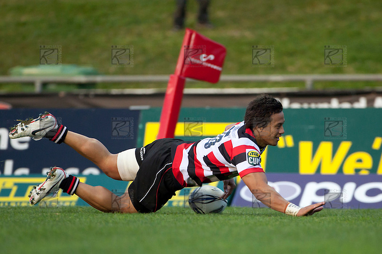 Tim Nanai Williams dives over to score the Steelers third try. ITM Cup Round 1 game between the Counties Manukau Steelers and Otago, played at Bayer Growers Stadium, Pukekohe, on Saturday July 31st 2010. Counties Manukau Steelers won 29 - 13 after leading 22 - 6 at halftime.