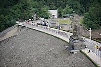 peloton riding over the  Barrage de la Gileppe (reservoir)<br /> <br /> stage 4: Hotel Verviers - La Gileppe (187km)<br /> 29th Ster ZLM Tour 2015