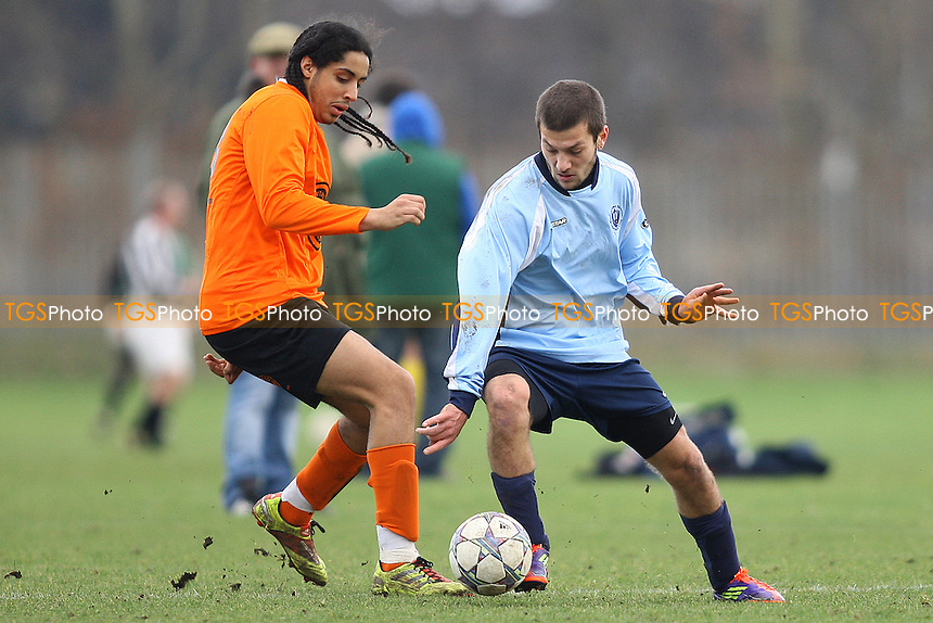 Singh Sabha Barking (light Blue) v Tower Hamlet Reserves (Golden Orange)- Essex Business Houses Football League - 28/01/12 - MANDATORY CREDIT: George Phillipou/TGSPHOTO - Self billing applies where appropriate - 0845 094 6026 - contact@tgsphoto.co.uk - NO UNPAID USE.