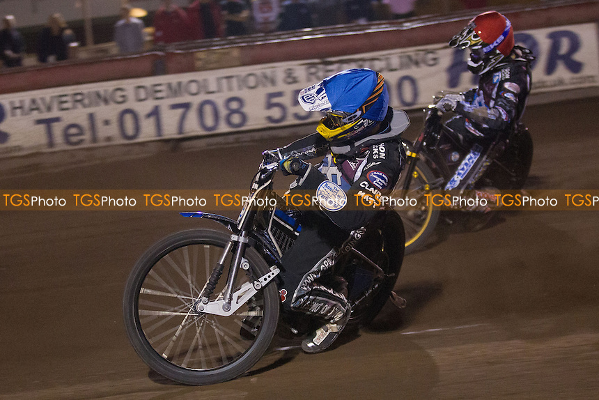 Adam Ellis of Lakeside Hammers and Kim Nilsson during heat 14 - Lakeside Hammers vs Belle Vue Aces - Elite League Speedway at Arena Essex - 15/08/14 - MANDATORY CREDIT: Ray Lawrence/TGSPHOTO - Self billing applies where appropriate - contact@tgsphoto.co.uk - NO UNPAID USE