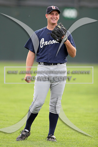 July 23 2008:  Pitcher Tyler Stohr of the Oneonta Tigers, Class-A affiliate of the Detroit Tigers, during a game at Dwyer Stadium in Batavia, NY.  Photo by:  Mike Janes/Four Seam Images
