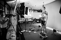 Lars Bak (DEN/Lotto-Soudal) getting 'videographed' before the Grande Partenza in Apeldoorn (NLD): team presentation of the 99th Giro d'Italia 2016 on the evening before the 1st stage